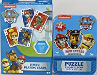 Paw Patrol Jumbo Playing Cards and Puzzle in Collectible Tin Combo [並行輸入品]