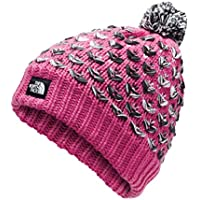 The North Face Kids GIRLS CHUNKY POM BEANIE, Mr. Pink Multi, OS