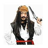 海賊 パイレーツ ジャックスパロウ コスプレ ウィッグ ヒゲ付き 3点セット