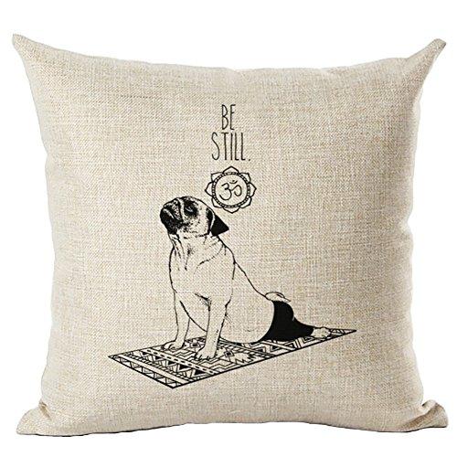 洗い替え 模様替え インテリアにも!かわいい 動物 犬 パグ クッション カバー 45×45 (ヨガAパグ)