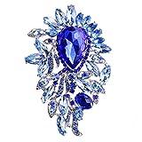 【ノーブランド 品】キラキラ 大きな水滴形 宝石 ラインストーン  ブローチピン ブローチ サファイア