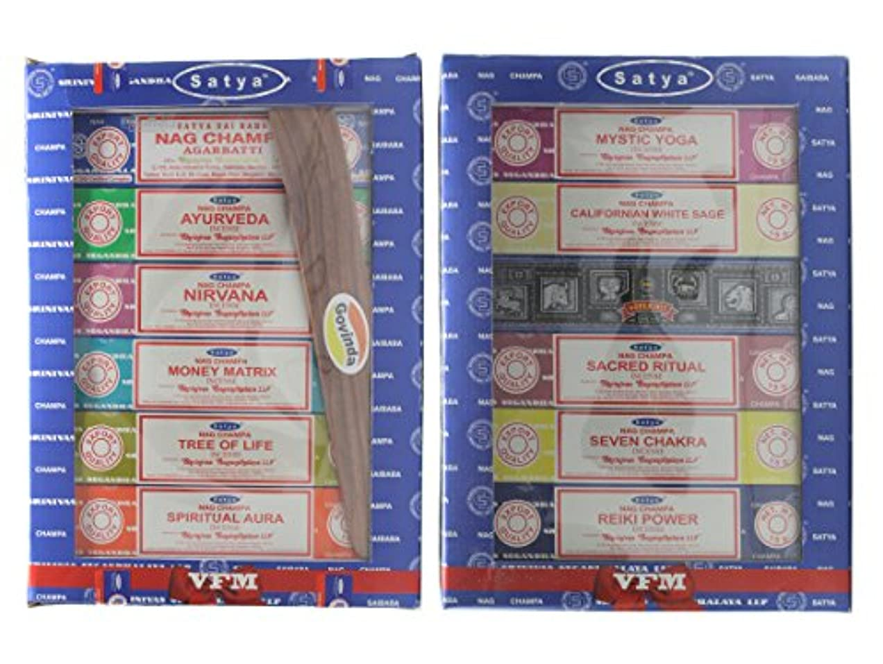 セットof 12 Nag Champa Ayurveda Nirvana MoneyマトリックスTree of Life Spiritual Aura MysticヨガカリフォルニアホワイトセージSuper Hit Sacred...