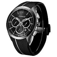 COMTEX 腕時計 ブラック スポーツ クロノグラフ ウオッチ クォーツ 時計 メンズ