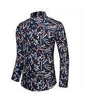 sayahe Men's Big & Tall Flower Print Non-Iron Long-Sleeve Dress Shirts AS5 XL