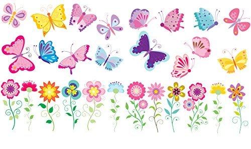おもちゃ Butterflies and Flowers Removable Repositionable Fabric Wall Decals [並行輸入品]