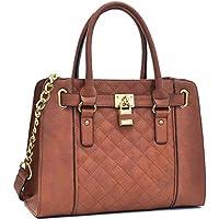 Womens Fashion Structured Handbag Top Belted Padlock Satchel Shoulder Bag
