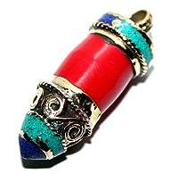 ネイティブアメリカンのジュエリーに基づいた真鍮、ターコイズ、コーラル、ラピスペンダントデザイン