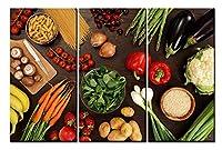 キャンバス絵画 3アートパネル インテリア現代壁の絵 壁飾り 食品野菜とパスタ 壁ポスター おしゃれ 壁アート壁掛け絵プリント 写真印刷の装飾画 HD ソファーの背景絵画 木製枠ハングする