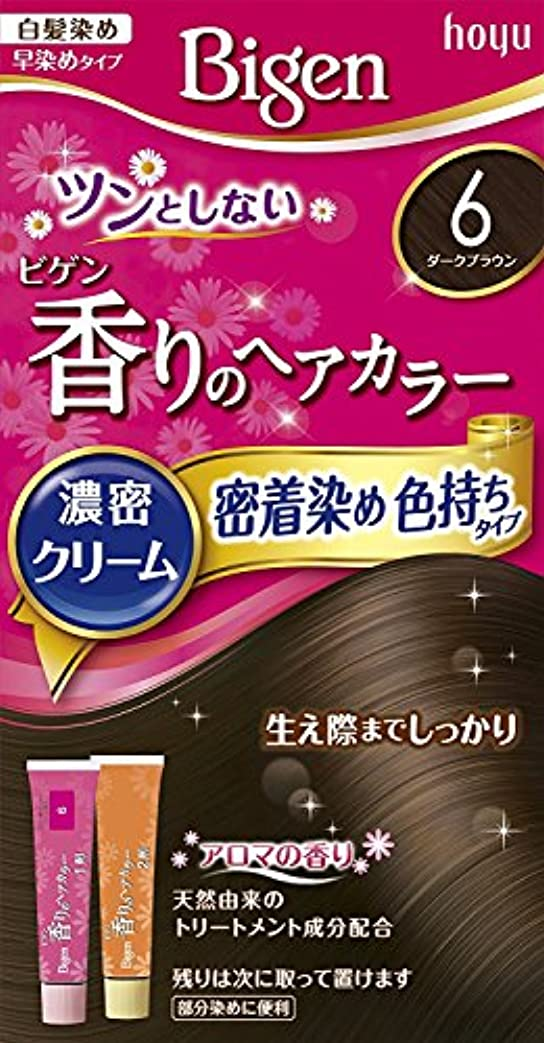 縞模様の損なう透けて見えるホーユー ビゲン香りのヘアカラークリーム6 (ダークブラウン) ×3個