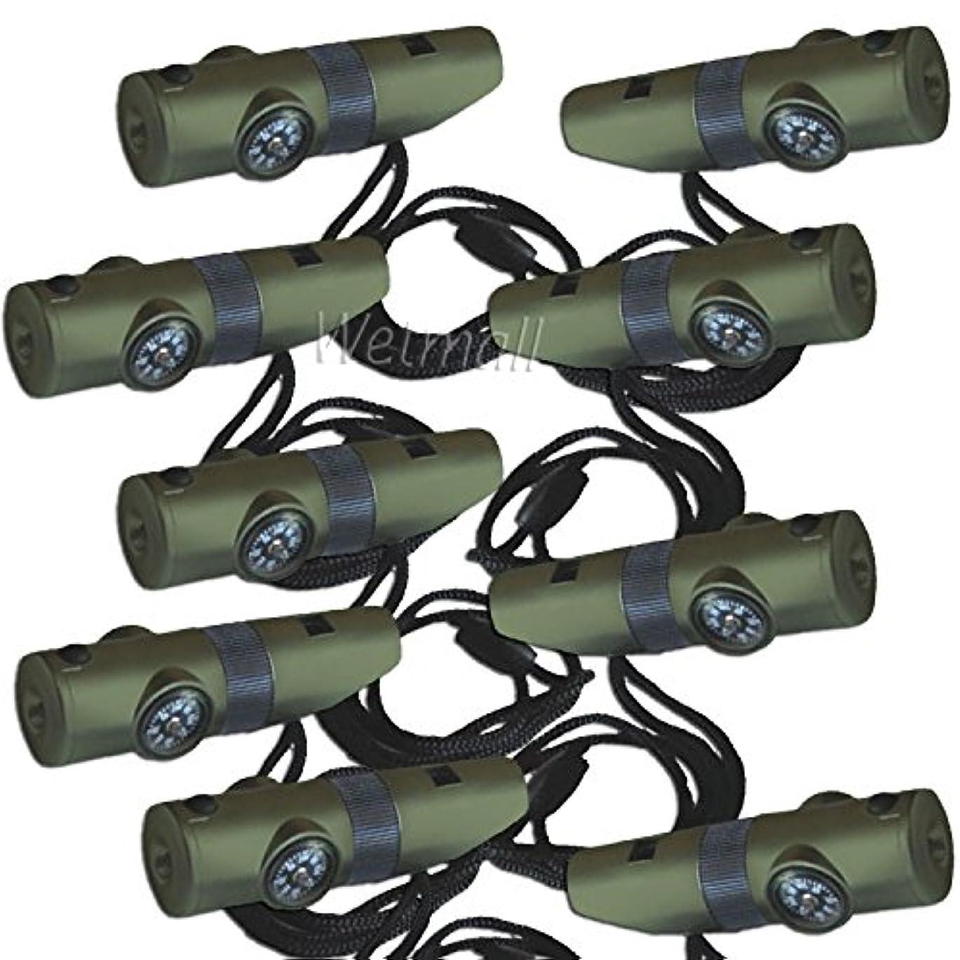 犯罪安心病気の9パック7 in 1 Militaryスタイルサバイバルキット緊急ホイッスルコンパス – LEDライト