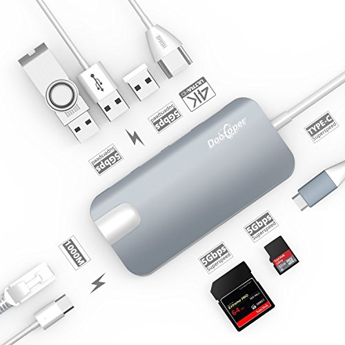 USB C ハブ Type-c Hub Dootoper USB C ハブにはUSB 3.0 ポート三つ、4K HDMI ポート、ネットワークポート(1000Mbit/s)、SDカードリーダ、Micro SDHC と USB C充電ポートを持ってて、USB - C を持ってる設備に適応です。例えば MacBook Air, MacBook Pro, Mac Mini, Google Chromebook 2016(スペース グレー)