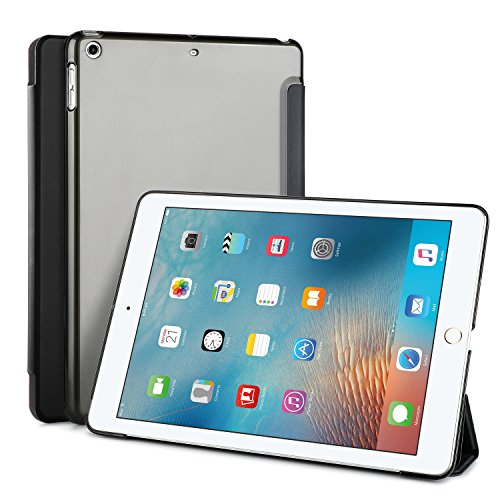 KuGi iPad Pro 10.5 ケース 傷つけ防止 スタンドカバー Apple iPad Pro 10.5インチ カバー 薄型 軽量 三つ折 内蔵マグネット開閉式 PUレザーカバー アップル iPad Pro 10.5 スマートケース ブラック