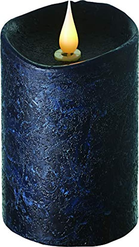 破産アラバマぐったりエンキンドル 3D LEDキャンドル ラスティクピラー 直径7.6cm×高さ13.5cm ブラック