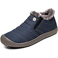 exeblue Mens Womens Slip on Slippers Faux Lining for Winter Indoor/Outdoor