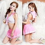 ミニスカ セーラー服 & Tバック セット セクシー コスプレ 衣装 コスチューム レディース フリーサイズ (ピンク)
