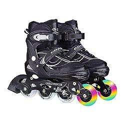 インラインスケート ローラースケート 発光 メッシュ 通気性抜群 大人 キッズ 子供用 初心者向け ローラーシューズ