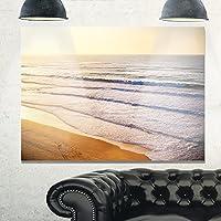 デザインアートmt10843–28–12stunning orange sunset overビーチExtra Largeシースケープメタル壁アート、ブルー/オレンジ、28x 12