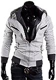 Next house メンズ ファッション ジャケット 立て 襟 フード 付き ジップ アップ 長 袖 アウター パーカー 大きい サイズ あり (11: ライトグレー Lサイズ)
