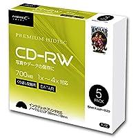 HIDISC HDCRW80YP5SC データ用 CD-RW 1-4倍速5mmスリムケース入り5枚パックx20個(100枚)