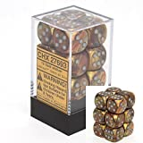 Chessex Dice d6 Sets: Lustrous Gold with Silver - 16mm Six Sided Die (12) Block of Dice (2-Pack) [並行輸入品]