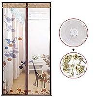 完全なフレーム 魔法の糊カーテン, 夏 磁気のフライ スクリーン ドア 無料パンチ ベッド 大型メッシュ カーテン 自動的に閉じる-H 90x220cm(35x87inch)