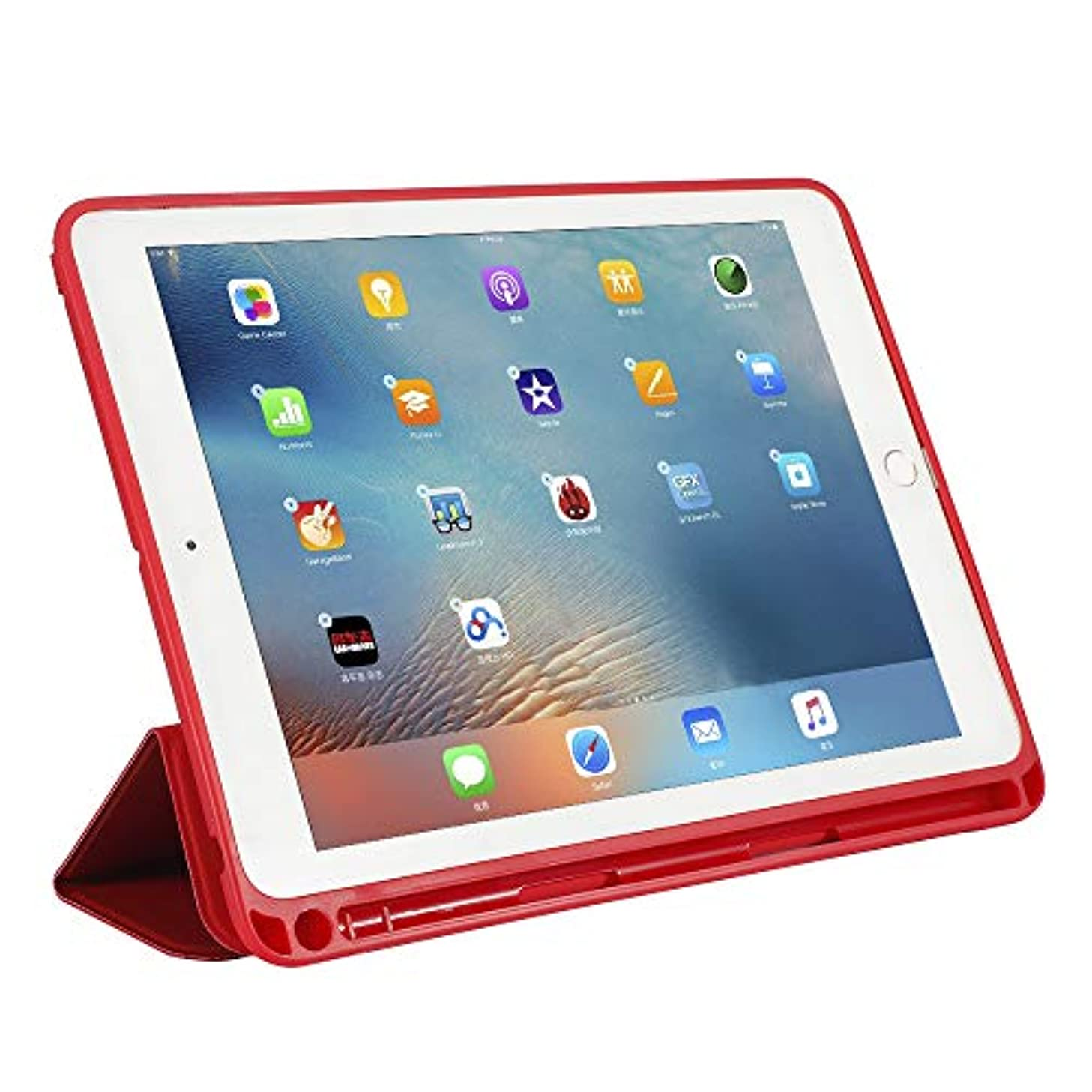 お尻疑問を超えてショットXIHAMA コンパチブル iPad mini 7.9インチ 保護ケース iPad mini5 アップルペンシル収納可能 2019年 新型モデル 三つ折りスタンド 傷防止 オートスリープ機能有り 全面保護 (Red)