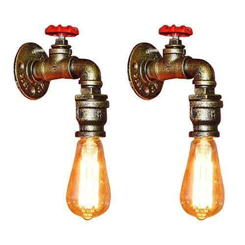 Fuloon ブラケットライト 2個入り  蛇口 水道管 レトロ 照明器具 1灯 アンティーク調 レトロ おしゃれ かっこいい 壁掛け照明器具 ダイニング 食卓 リビング 居間 和室 和風 led対応 北欧