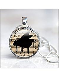 音楽ジュエリー - ピアノ?ネックレス - ガラスピアノジュエリー