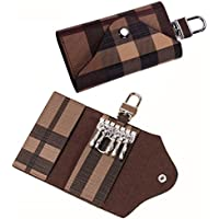 JackSupermall Women Men Leather Car Key Chain Card Holder Pouch Case Key Organizer Bag (Brown)