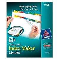 インデックスmakeramp ; reg ;ホワイトディバイダー、マルチカラー12タブスタイル、withクリアラベル、1セット( ave11405)