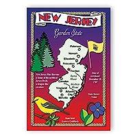 New Jersey Stateマップポストカードのセット20identicalはがき。Post Cards with NJマップと状態シンボル。Made In USA。