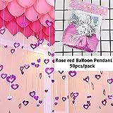 Yumbyss - 結婚式の誕生日パーティーの装飾大人子供のための気球アクセサリーエアーポンプアーチフォルダシールクリップスティックバルーンリボンペンダント[ローズレッドペンダント]