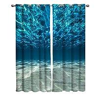 カーテン 青い海水と砂 海の下底面図 カーテン遮光 セットカーテン 断熱 節電対策 防寒 一人暮らし 洗濯可 9サイズから選ベる 祝日プレゼント 幅100cm/丈160cm(1枚)2枚組