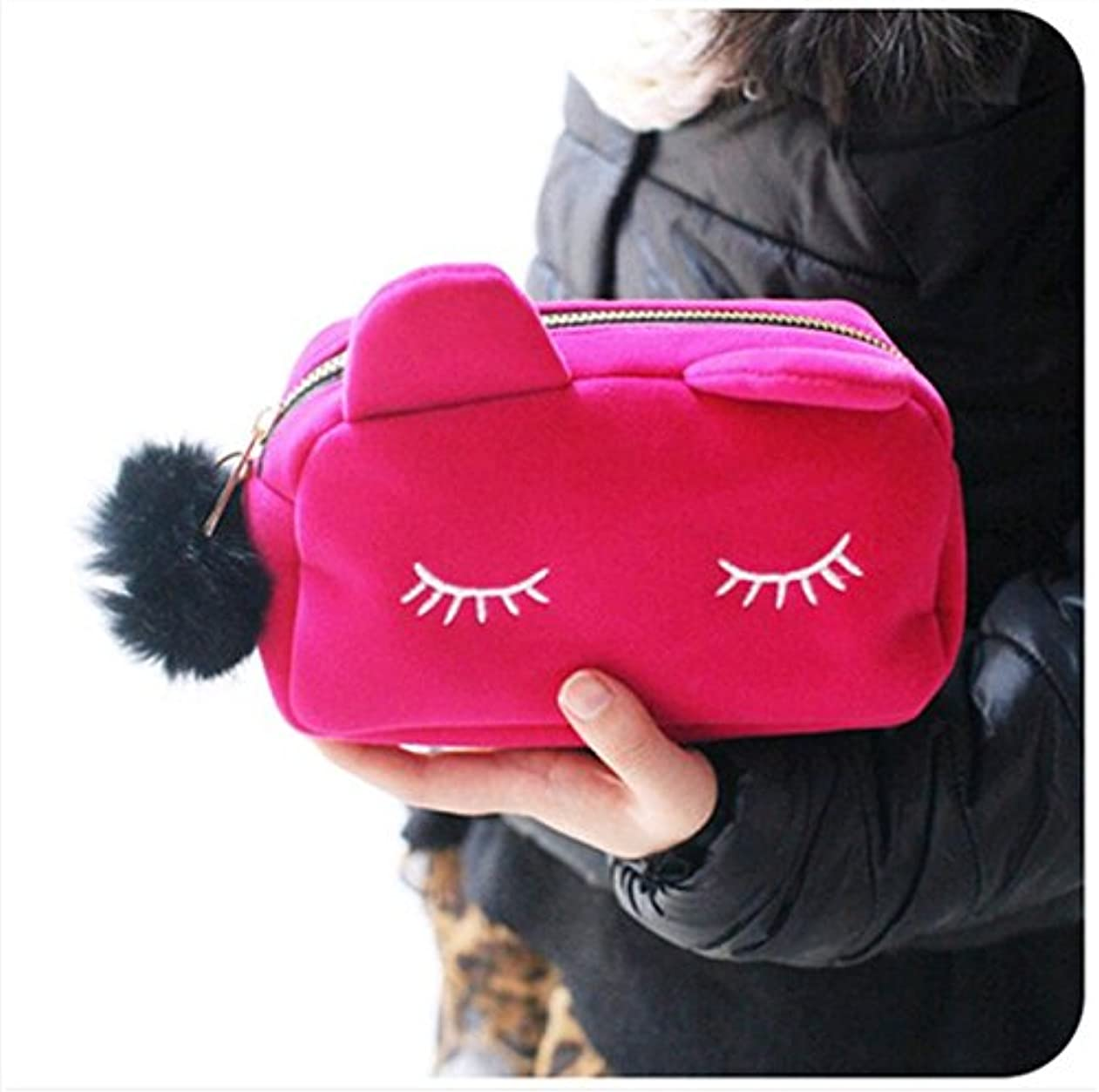 ハプニングタクシー嫌な猫 化粧ポーチ バニティベロア ポンポン付き ピンク