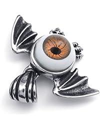 [テメゴ ジュエリー]TEMEGO Jewelry メンズステンレススチールヴィンテージペンダントゴシック悪魔の目コウモリの翼ネックレスチェーン、ブラックブラウンシルバー[インポート]