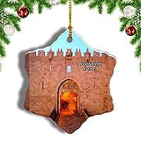 Weekinoイスラエルイスラエルダマスカス門エルサレムクリスマスオーナメントクリスマスツリーペンダントデコレーション旅行お土産コレクション陶器両面デザイン3インチ