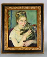 BiblioArt Series P.A.ルノワール 「猫を抱く女性」 黒金縁額装品2