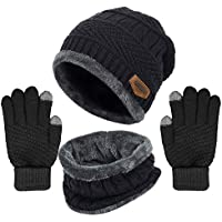 Yoklili Winter Knit Beanie Hat Neck Warmer Loop Scarf Gloves Set, Fleece Lined Slouchy Snow Ski Skull Cap/Infinity Scarves & Touch Screen Mittens for Men Women