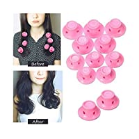 10pcs/set Soft Rubber Pink Magic Hair Care Rollers Silicone Hair Curler No Heat Hair Styling Tool (10個の加熱無しでヘアーカーラー用シリコンローラー)