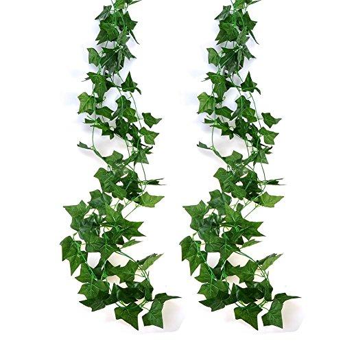 xiaokesong アイビー 人工 藤 観葉植物 壁掛 インテリア アンティーク フェイクグリーン 2本入り