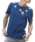 ルービック(RUBIK) Tシャツ メンズ 半袖Tシャツ インディゴ プリント カットソー シャツ クルーネック 抜染 XL インディゴ(星柄)