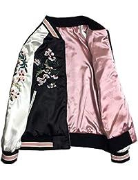 b145c374a16de SHUNYI スカジャン レディース 刺繍 ジャケット オシャレ ミリタリー 無地 コート 2way アウター ...