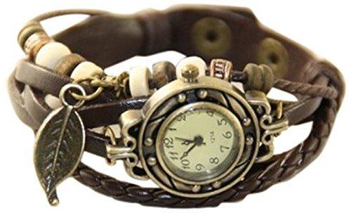 【アンティーク風 レザー ブレスレット ウォッチ リーフ チャーム付】本革 ベルト クォーツ腕時計 (グリーン)