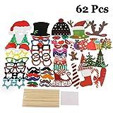 LLOP クリスマス小道具 66ピース クリスマス写真ブース小道具キット DIY クリスマスデコレーション パーティーの記念品 誕生日 ポーズサイン サンタクロース 鹿の角帽子