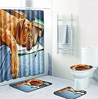 4ピースポリエステルシャワーカーテン+滑り止めフタ付きトイレマット+バスマットクリエイティブかわいいカメ子犬プリント浴室用アクセサリー,004,Set2