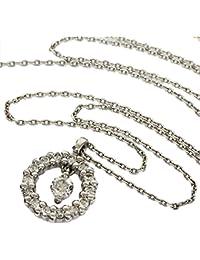 (ヨンドシー)4℃ ダイヤ サークル デザイン ネックレス K18WG 40cm 2.2g 中古