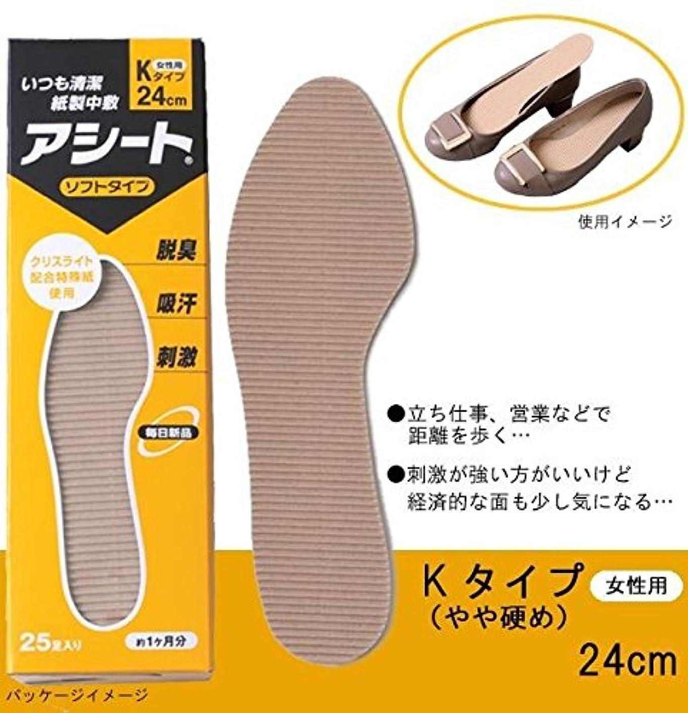 生態学サスペンド回転させる紙製中敷 アシートKタイプ 50足セット 24cm(女性用)