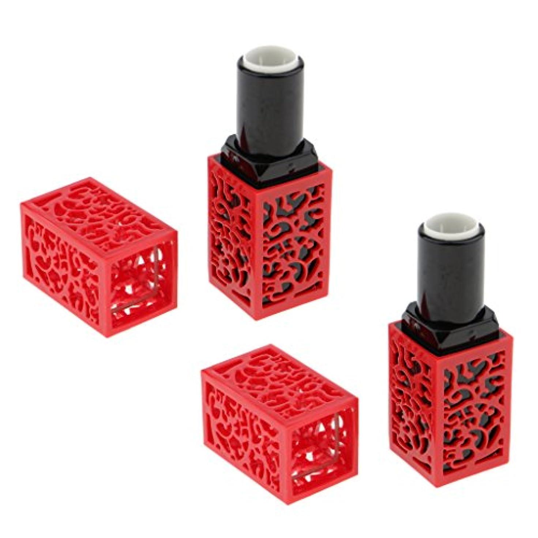ライオネルグリーンストリート警察署保護するInjoyo リップクリームチューブ 口紅容器 リップスティック コンテナ コスメ DIY 詰替え容器 2個セット - 赤