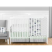 Grey, Navy Blue and Mint Woodland Arrow 4 Piece Baby Boy or Girl Crib Bed Bedding Set Without Bumper [並行輸入品]