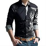 【 Smaids×Smile 】 メンズ シャツ トップス 柄 長袖 七分袖 スリム 刺繍 カジュアル トライバル (L, ブラック)